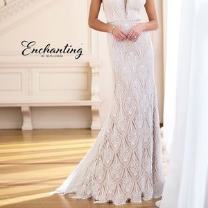 Mon Cheri low back lace sheath wedding dress